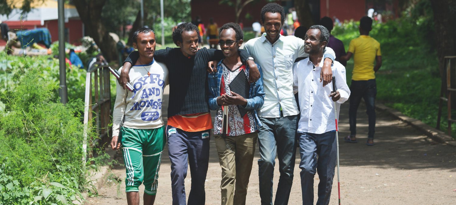 GPE Group of Blind and visual impaired students walking Ethiopia Credit Kelley Lynch