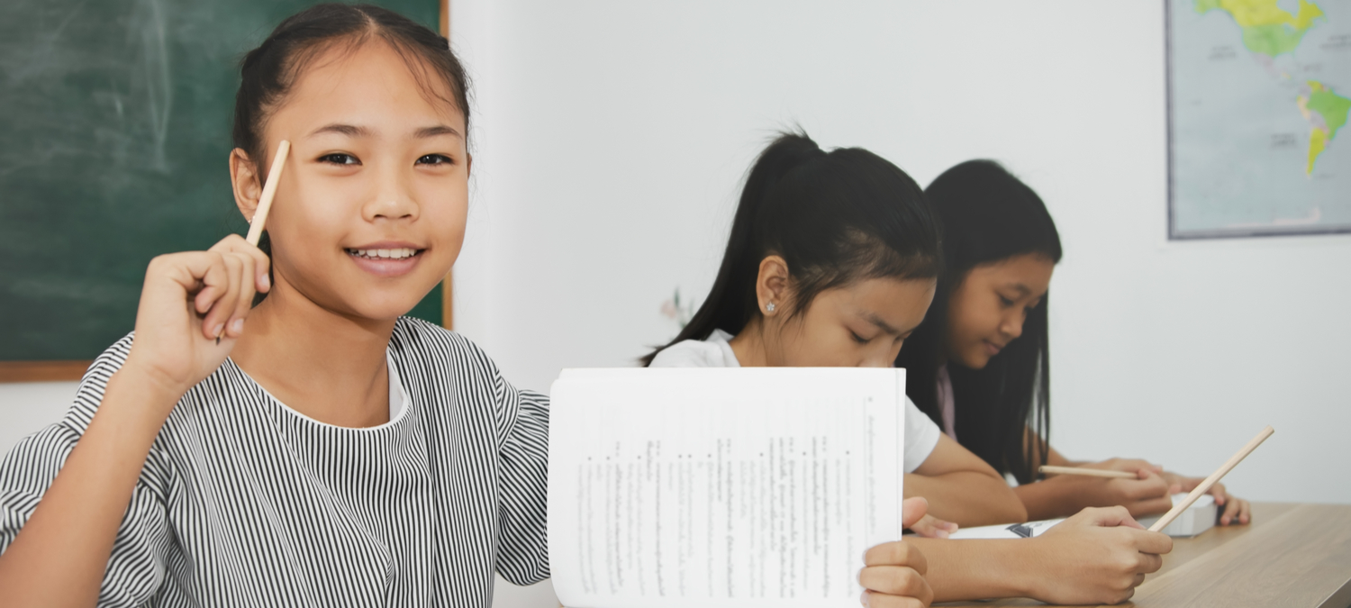 Asian female students in the classroom